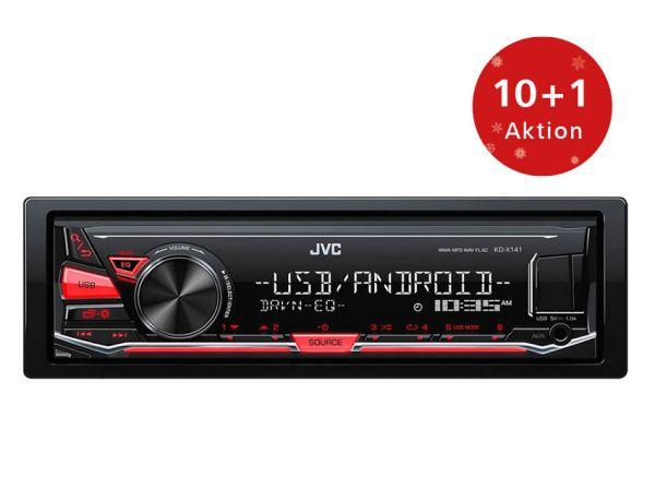 10+1 Aktion - JVC KD-X141 - Autoradio ohne CD-Laufwerk mit USB/AUX