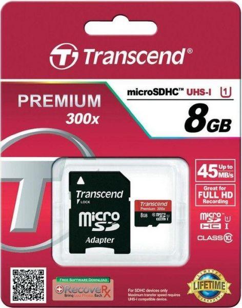 Transcend microSDHC 8GB Speicherkarte