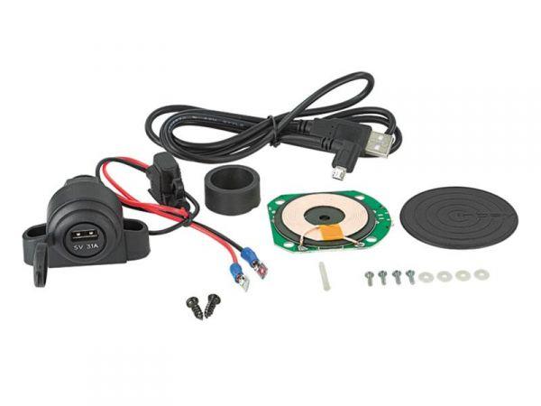 Inbay® Nachrüst-Kit - 1 Spule mit Pad + LWL - Qi-Standard