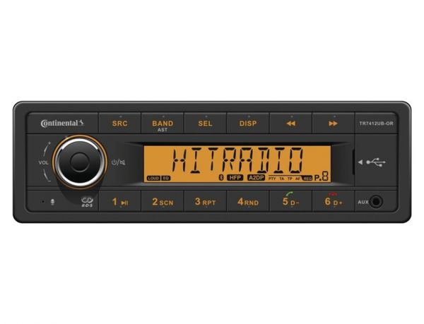 Continental TR7412UB-OR - 12 Volt Autoradio mit Bluetooth - laufwerklos