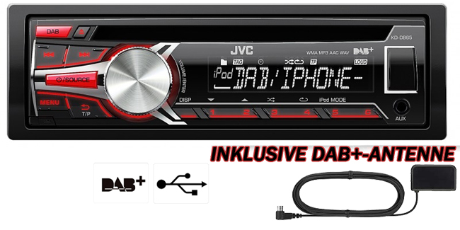 dab autoradio jvc kd db65ate mit front usb aux eingang. Black Bedroom Furniture Sets. Home Design Ideas